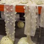 Decoración Árbol Blanco, materiales: cortinas florales